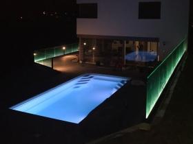 Staklene ograde Elegant - nasadni sistem C50 sa LED osvetljenjem