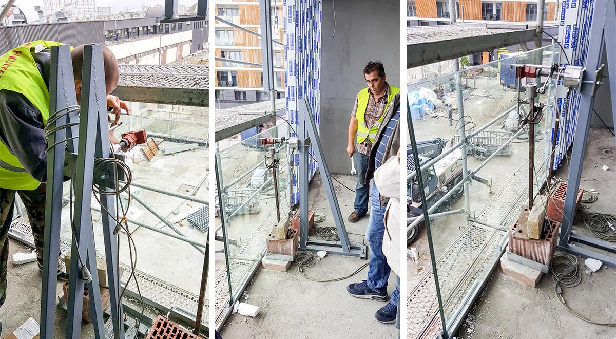 Ispitivanje staklene ograde elegant - stranični sistem D50 - West65 Beograd